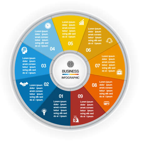 circle design: Colorful Ring for cyclic process on nine positions possible to use for workflow, banner, diagram, web design, timeline, area chart