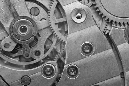 Black-and-white Metal Cogwheels in Clockwork, Macro. Concept Teamwork , Idea Technology Stock Photo