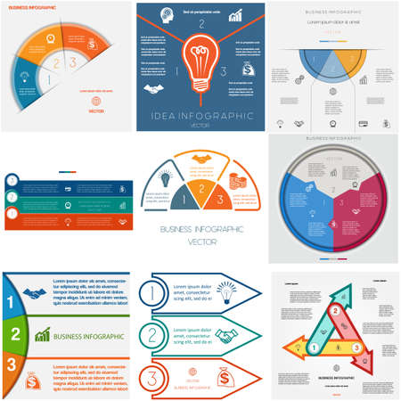 text area: Set 9 templates Infographics for business conceptual cyclic processes.Three positions for text area, possible to use for workflow, banner, diagram, web design, timeline, area chart Illustration