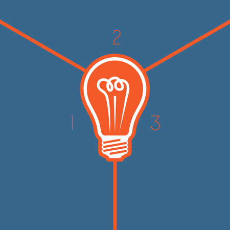 Light bulb , template on 3 positions possible to use for workflow, banner,  area chart Stock Photo