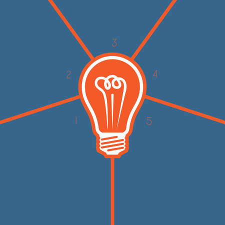 Light bulb , template on 5 positions possible to use for workflow, banner,  area chart