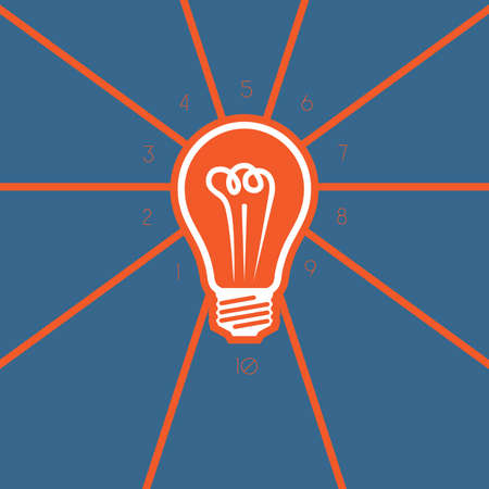 Light bulb , template on 10 positions possible to use for workflow, banner,  area chart
