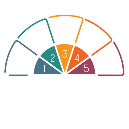 Semicircle template from colourful lines with text areas on 5 positions