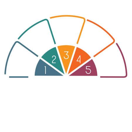 Halve cirkel sjabloon uit kleurrijke lijnen met tekst gebieden op 5 posities Stockfoto