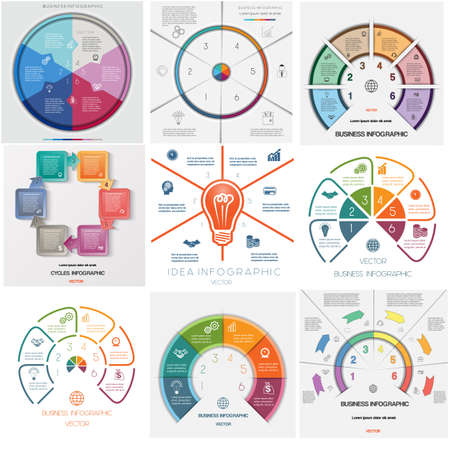 text area: Set 9 templates, Infographics business conceptual cyclic processes, six positions for text area possible to use for workflow, banner, diagram, web design, timeline, area chart Illustration