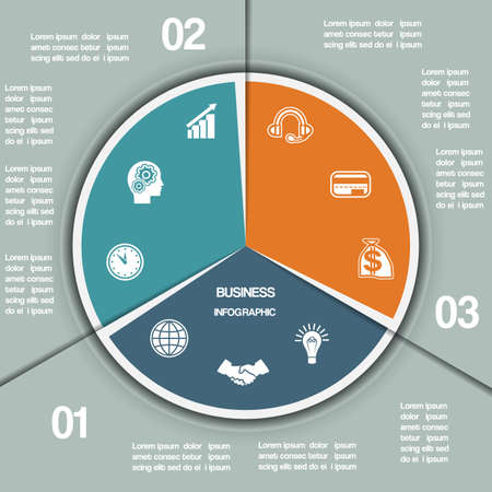 Infographic cirkeldiagram sjabloon uit kleurrijke cirkel met tekst gebieden op drie posities