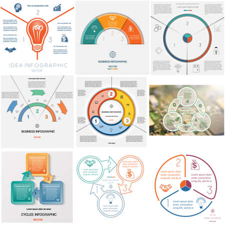 Set 9 templates, Infographics business conceptual cyclic processes, three positions for text area, possible to use for workflow, banner, diagram, web design, timeline, area chart