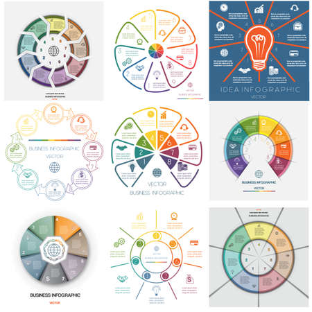 Set 9 templates. Infographics for business conceptual cyclic processes on seven, eight, nine  positions possible to use for workflow, banner, diagram, web design, timeline, area chart