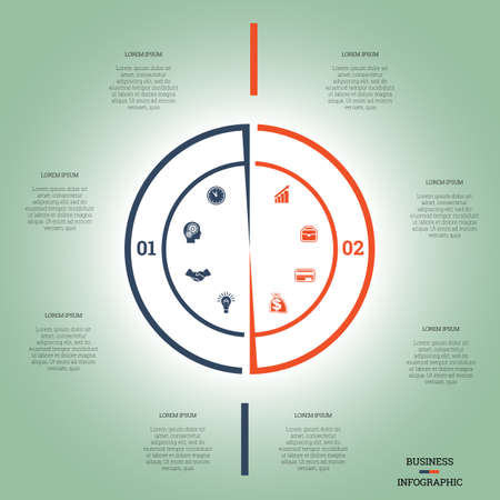 pictogramme: Infographic Pie chart template colourful circle from lines with text areas on two positions Illustration