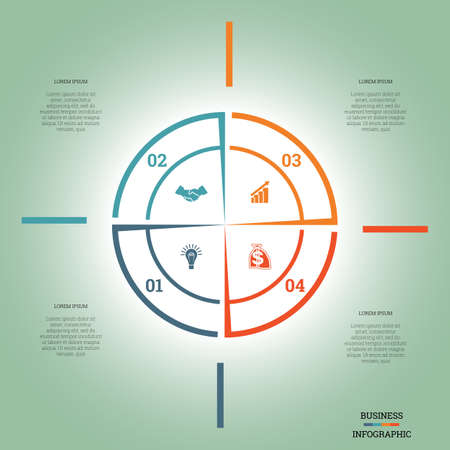 pictogramme: Infographic Pie chart template colourful circle from lines with text areas on four positions