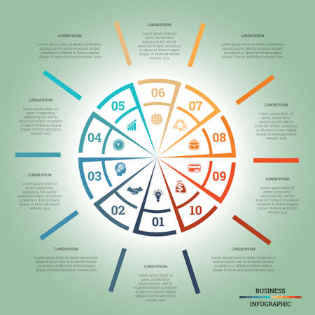 pictogramme: Infographic Pie chart template colourful circle from lines with text areas on ten positions