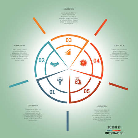 pictogramme: Infographic Pie chart template colourful circle from lines with text areas on five positions