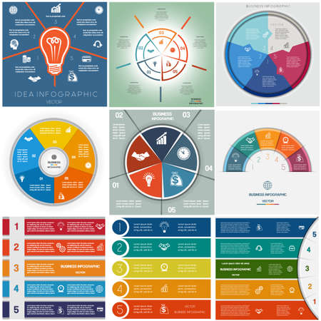 business chart: Set 9 templates Infographics business conceptual cyclic processes,