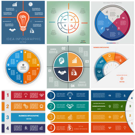 text area: Set 9 templates, Infographics business conceptual cyclic processes, four positions for text area, possible to use for workflow, banner, diagram, web design, timeline, area chart