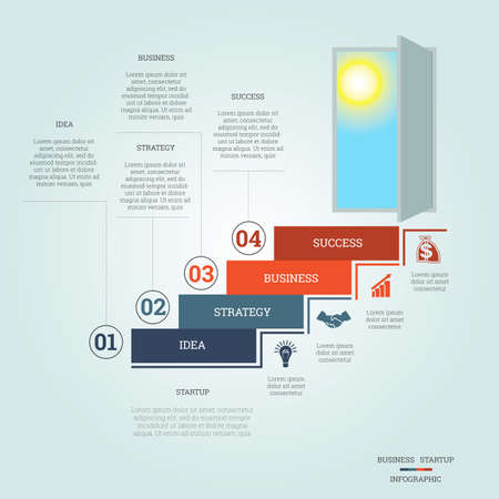 Business success startup, Conceptual infographics steps up ladders and doorway, template four positions, possible to use for workflow, banner, diagram, web design, timeline, area chart, number options, step up options Stock Illustratie