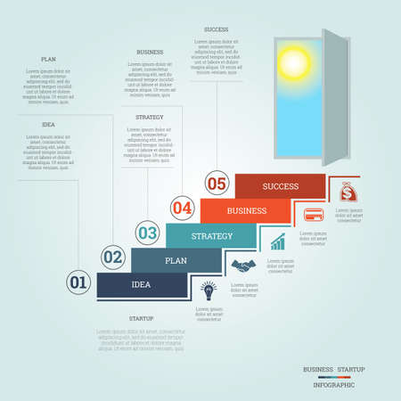 5 door: Business success startup, Conceptual infographics steps up ladders and doorway, template five positions, possible to use for workflow, banner, diagram, web design, timeline, area chart, number options, step up options