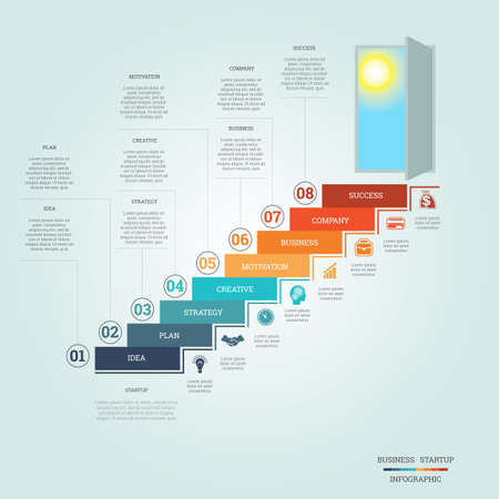 staircase: Business success startup, Conceptual infographics steps up ladders and doorway, template eight positions, possible to use for workflow, banner, diagram, web design, timeline, area chart,number options, step up options Illustration