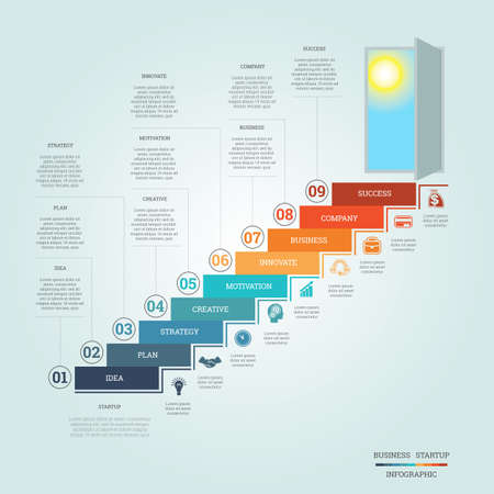 Business success startup, Conceptual infographics steps up ladders and doorway, template nine positions, possible to use for workflow, banner, diagram, web design, timeline, area chart, number options, step up options Stock Illustratie
