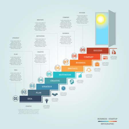 Zakelijk succes opstarten, Conceptual infographics stapt ladders en deuropening, sjabloon negen posities, mogelijk om voor workflow, banner, diagram, webdesign, tijdlijn, vlakdiagram, aantal opties, intensiveren opties Stock Illustratie