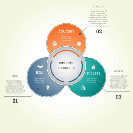Infographic business template three text areas , possible to use for workflow, banner, diagram, web design, timeline, area chart