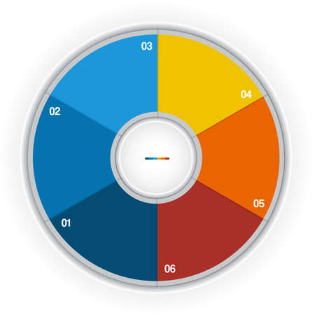 Kleurrijke Ring voor cyclisch proces op 6 posities mogelijk voor tekst Stockfoto