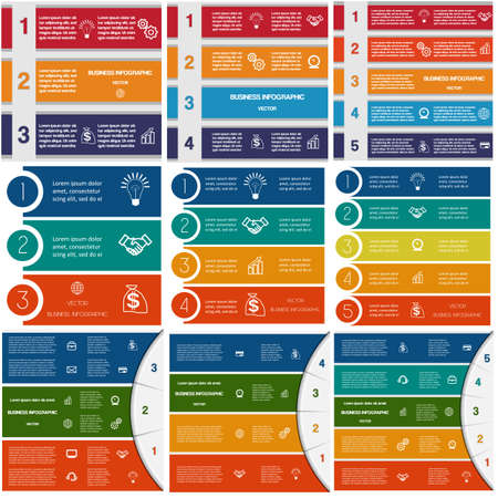 list: 9 templates, Infographics cyclic processes, Business concept,  colorful strips on three, four, five options possible to use for work flow, banner, diagram, web design, time line, area