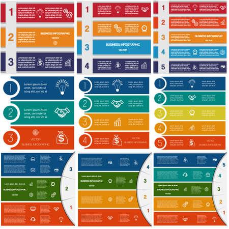 9 templates, Infographics cyclische processen, Business concept, kleurrijke strips op drie, vier, vijf opties mogelijk om te gebruiken voor het werk flow, banner, diagram, webdesign, tijdslijn, area Stock Illustratie