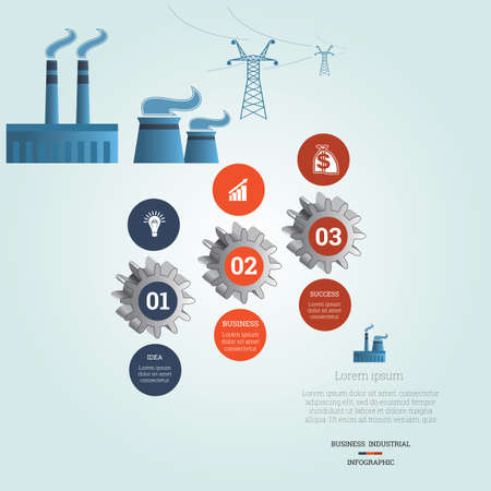 Gear wheels numbered, icons business, Pipe factory smoke, electric transmission lines, industrial infographic template with text areas on three positions Illustration