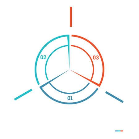 Infographic Cirkeldiagrammalplaatje kleurrijke cirkel van lijnen met tekstgebieden op 3 posities voor werkstroom, banners, diagram, Webontwerp, chronologie, gebiedsgrafiek, aantalopties, websites, lay-outs, presentaties