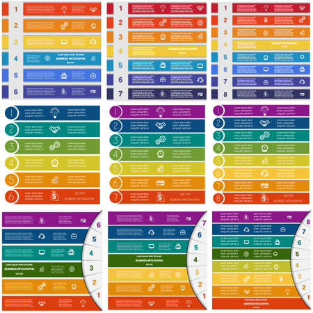 Set Infographic Vector templates colorful strips numbered with place for text on 6, 7, 8 positions or steps