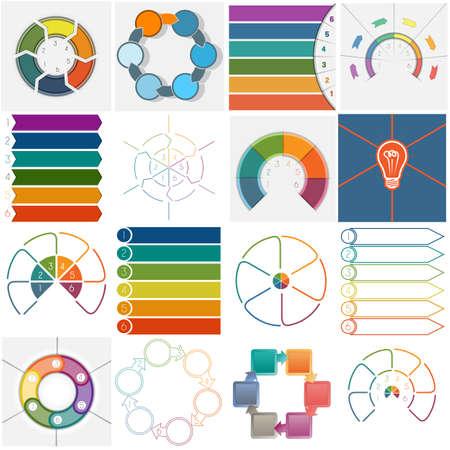 flujo: 16 plantillas de vectores, procesos cíclicos de infografía, área de texto para seis posición posible utilizar para el flujo de trabajo, bandera, diagrama, diseño web