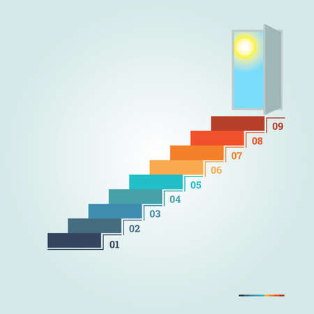 Infographics numbered 9 steps up of ladder and  doorway with sun