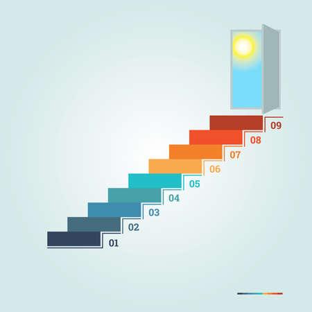 Infographics genummerde 9 stappen up van de ladder en deuropening met zon Stockfoto