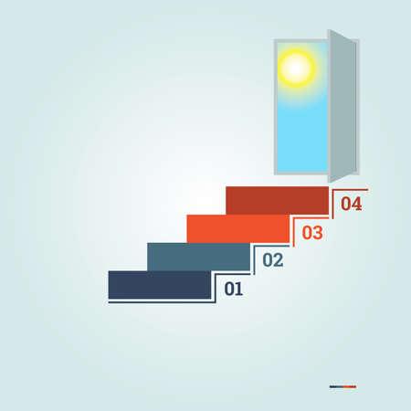 Infographics genummerde 4 stappen van de ladder en deuropening met zon