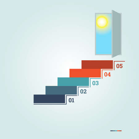 ine: Infographics numbered 5 steps up of ladder and  doorway with sun Stock Photo