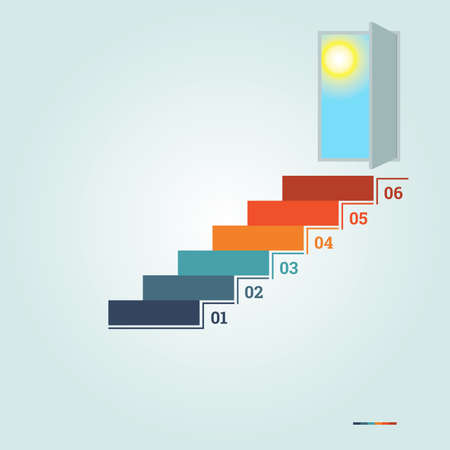doorway: Infographics numbered 6 steps up of ladder and  doorway with sun