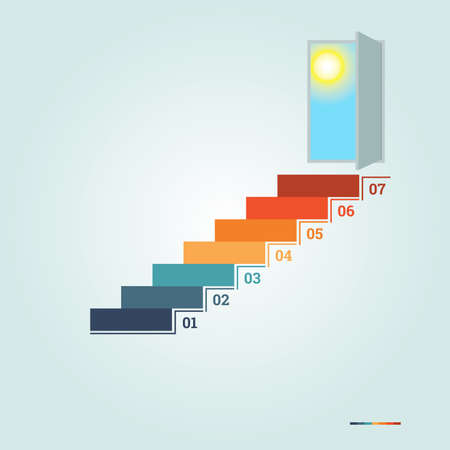 Infographics numbered 7 steps up of ladder and  doorway with sun