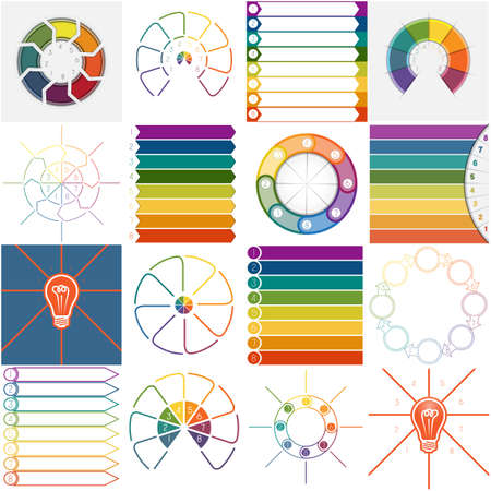 work flow: 16 vector templates, Infographics cyclic processes, text area for eight position possible to use for work flow, banner, diagram, web design