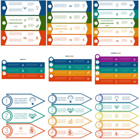 work flow: Infographics cyclic processes, 9 templates, Business concept, colorful strips on three, four, five options possible to use for work flow, banner, diagram, web design, time line, area