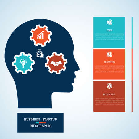 personality development: Vector image for infographic, head with gearwheels, thinking human target purpose startup business concept, template for three positions, steps, options or parts Illustration