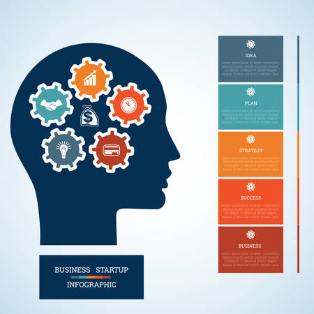 personality development: Vector image for infographic, head with gearwheels, thinking human target purpose startup business concept, template for five positions, steps, options or parts