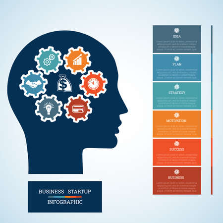 personality development: Vector image for infographic, head with gearwheels, thinking human target purpose startup business concept, template for six positions, steps, options or parts