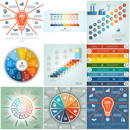 advertising column: 9 templates Infographics business conceptual cyclic processes nine and ten steps, options parts or positions for text area, possible to use for workflow, diagram, timeline, area chart