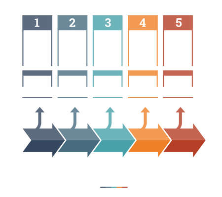 text area: Timeline Infographic design template five position for text area Stock Photo