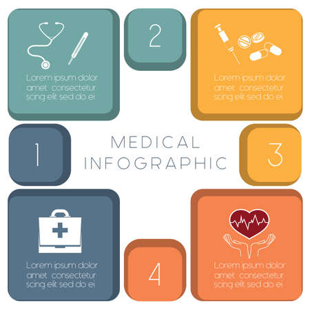 convalescence: Medical template infographic conceptual vector illustration, diagnose the disease, medication and convalescence Illustration