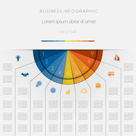 semicircle: Infographic color semicircle for template with text areas on nine positions Illustration