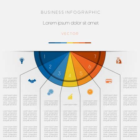 Infografik Farbe Halbkreis für eine Vorlage mit Textbereiche auf sieben Positionen Vektorgrafik