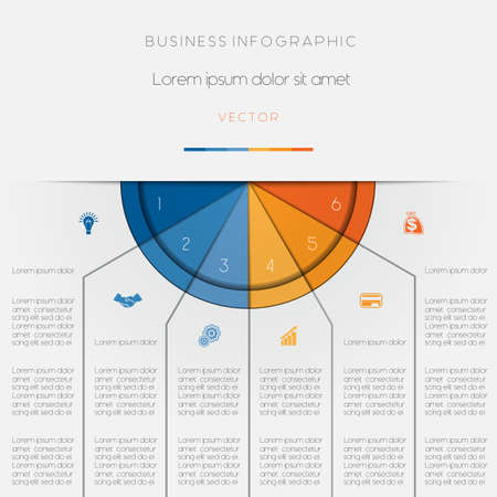 semicircle: Infographic color semicircle for template with text areas on six positions