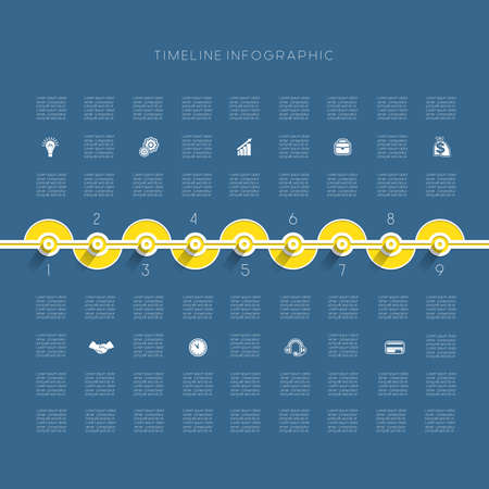 Timeline Infographic template nine positions Illustration