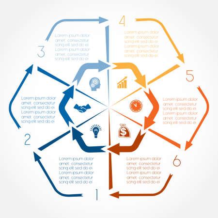 Flèches de couleurs infographiques pendant six positions, possible d'utiliser des flux de travail, bannière, diagramme, conception de sites Web, le calendrier, la zone graphique, option de numéro Vecteurs